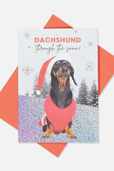 Christmas Card 2019, DACHSHUND THROUGH THE SNOW
