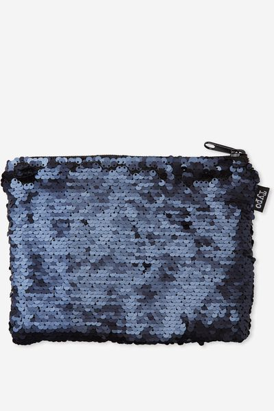 Shape It Pencil Case, MATTE NAVY SEQUINS