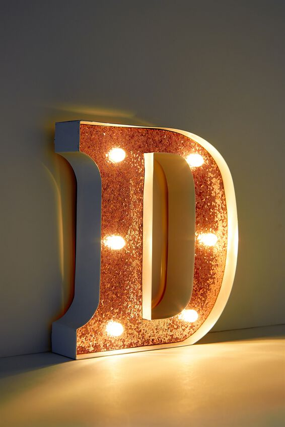 Marquee Letter Lights Premium 16cm Midi, WHITE WITH ROSE GOLD D