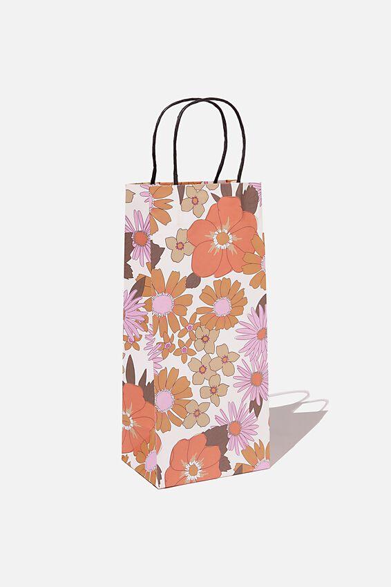Bottle Gift Bag, PINK ORANGE STEVIE FLORAL