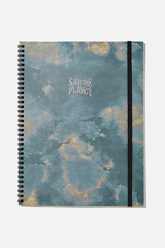 A4 Spinout Notebook Recycled, TIE DYE SAVE THE PLANET