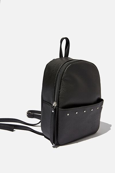 Mini Cairo Backpack, BLACK W STUDDED PKT