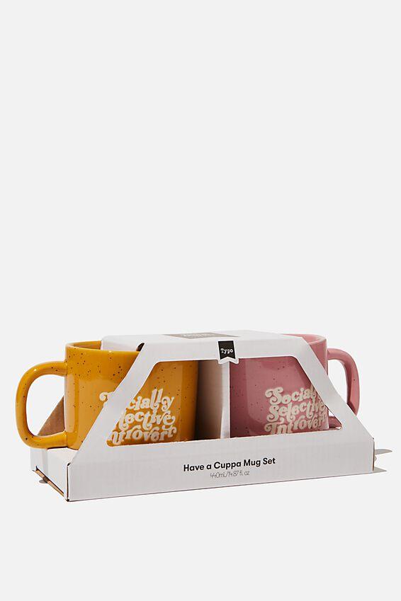 2Pk Mug Set, SOCIALLY SELECTIVE INTROVERT