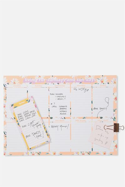 A3 Extra Large Plan Ahead Planner, SUNDAYS PINK DAISY
