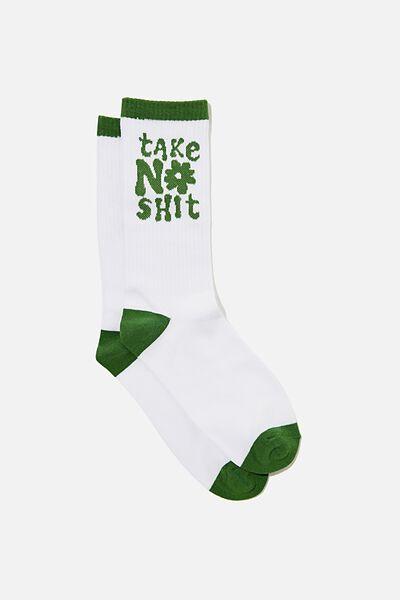 Socks, TAKE NO SHIT GREEN !