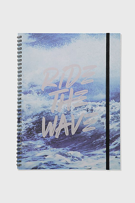 A4 Spinout Notebook Grid Page, RIDE THE WAVE
