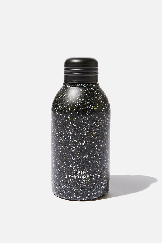 Mini Metal Drink Bottle, BLACK MULTI SPLATTER