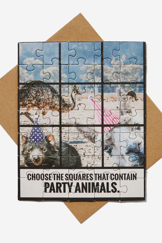 Premium Funny Birthday Card, PARTY ANIMAL PUZZLE
