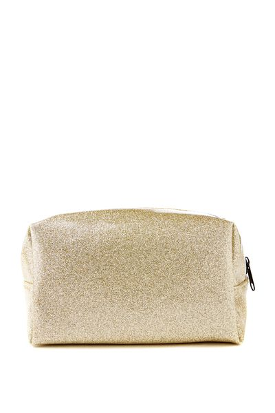 Made Up Cosmetic Bag, GOLD GLITTER
