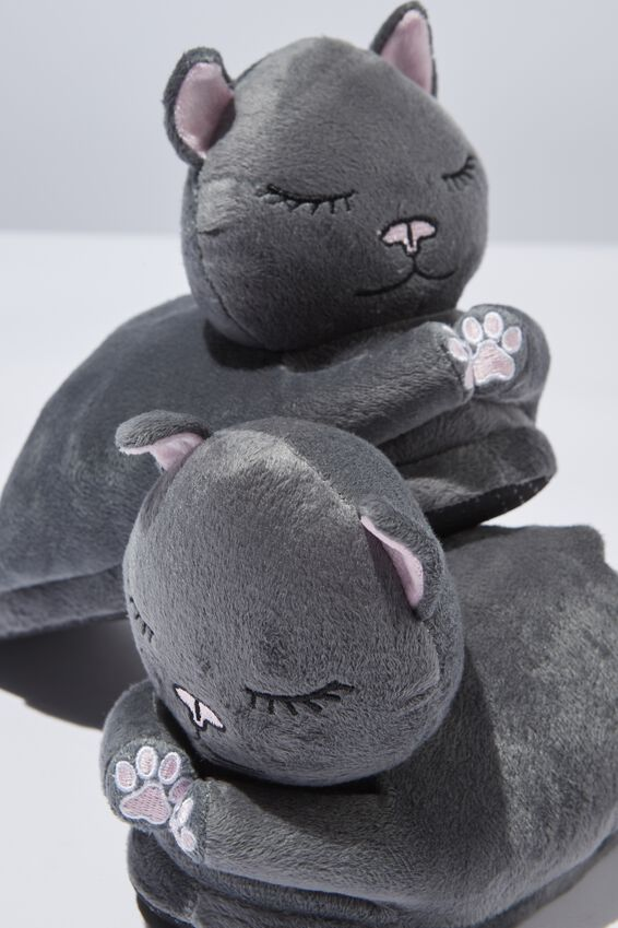 Novelty Slippers, GREY CATS