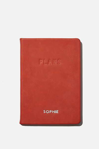 Personalised A5 Undated Weekly Buffalo Diary, RUST