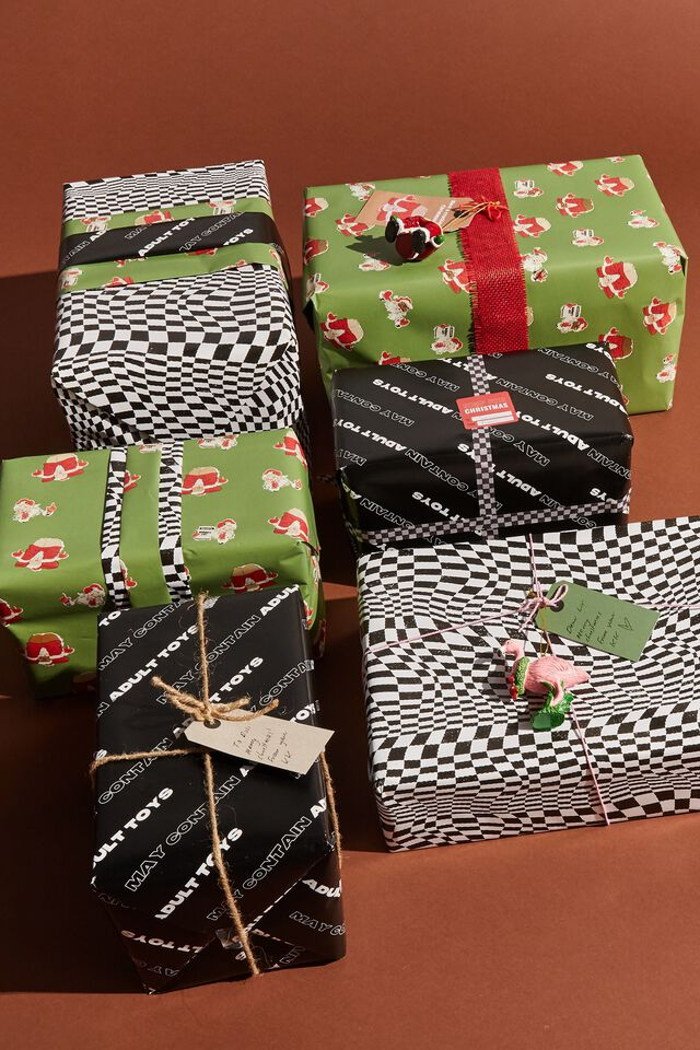 Christmas Wrapping Paper Roll, CHECKERBOARD BLACK WHITE