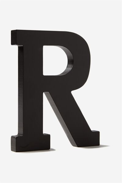 Letterpress Wooden Letter, BLACK R