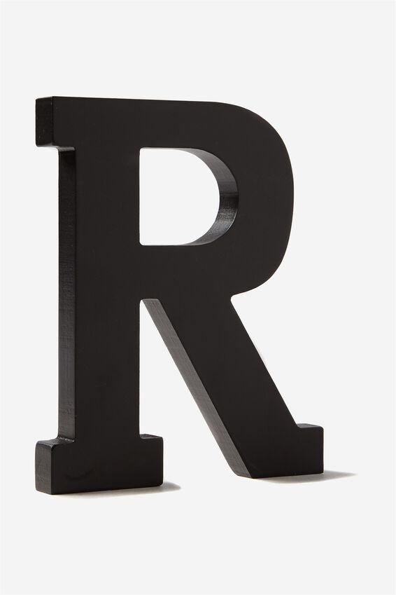 Letterpress Wooden Letter, BLACK R