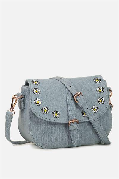Mini Saddle Bag, CHAMBRAY DAISY