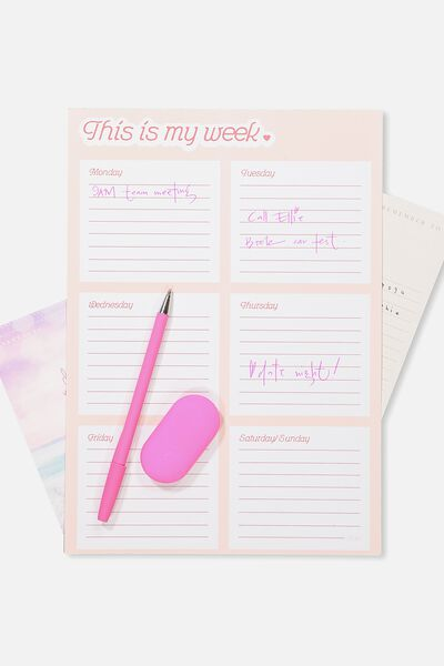 Large Plan Ahead Planner, PINK MY WEEK