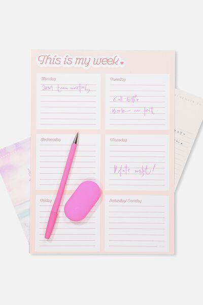 A4 Plan Ahead Planner, PINK MY WEEK