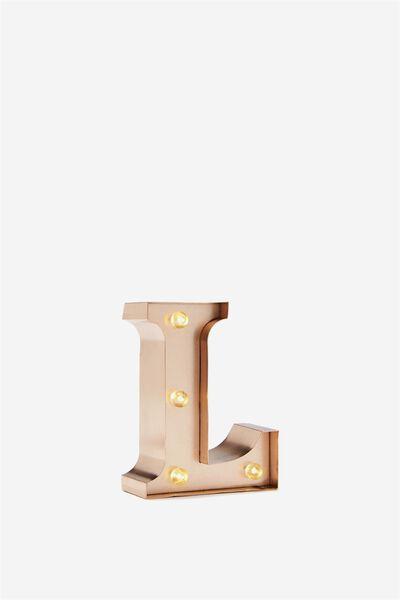 Mini Marquee Letter Lights 10cm, ROSE GOLD L