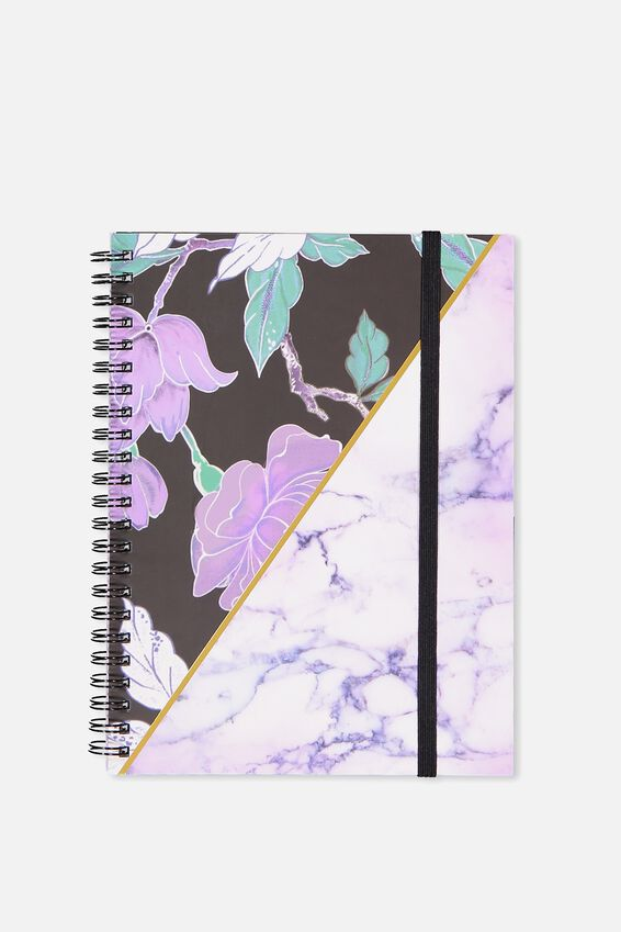 Small Spinout Notebook - V, LUSH FLORAL MARBLE