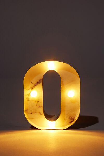 Mini Marquee Letter Lights 10cm, MARBLE O