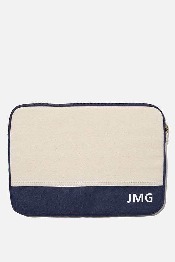Personalised Canvas 13 Inch Laptop Case, NATURAL and NAVY