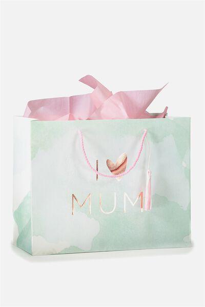 Stuff It Gift Bag Medium With Tissue Paper, I HEART MUM