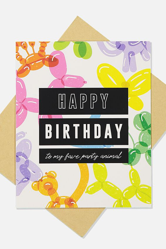 Funny Birthday Card, BALLOONS PARTY ANIMAL