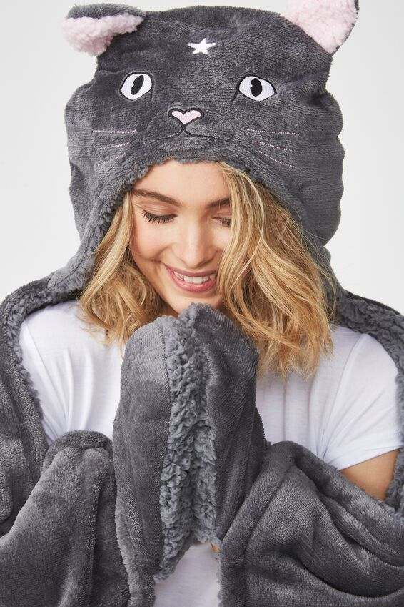 Novelty Hooded Blanket, MYSTIC CAT