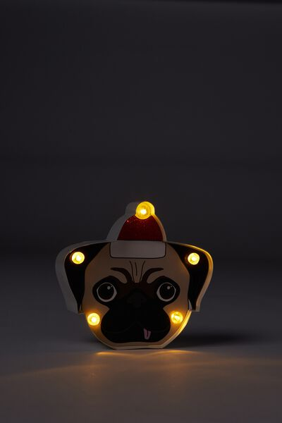 Shaped Mini Marquee Light, CHRISTMAS PUG