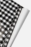 Roll Wrapping Paper, BLACK AND WHITE GINGHAM
