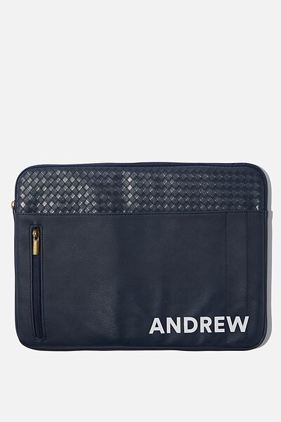 """Take Charge 15"""" Laptop Cover Personalised, NAVY WEAVE"""