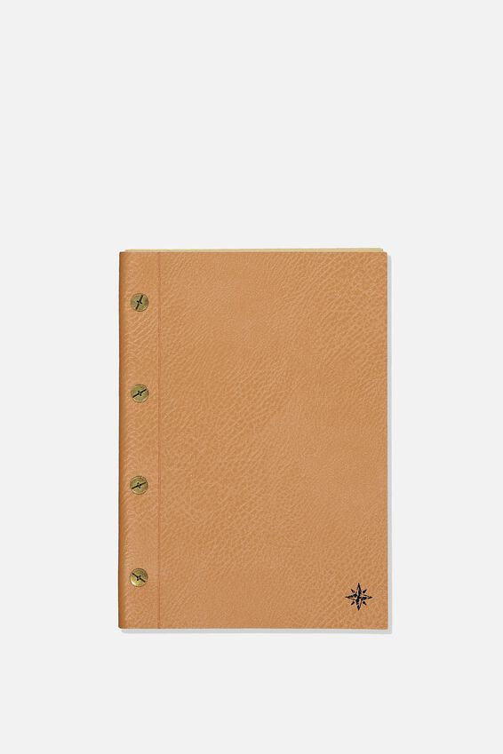 Vintage A5 Notebook, TAN COMPASS