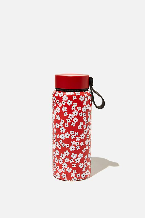 On The Move Metal Drink Bottle 350Ml, TRUE RED CHERRY BLOSSOM