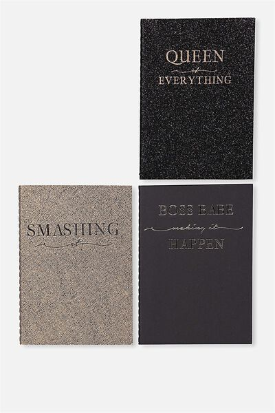 3Pk A6 Notebooks, BLACK & GOLD