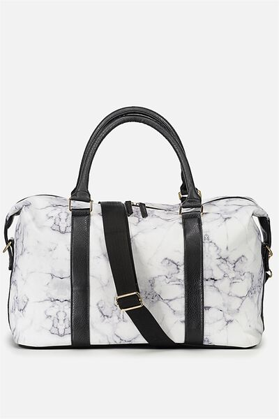 Weekend Away Duffel Bag, BLACK & WHITE MARBLE