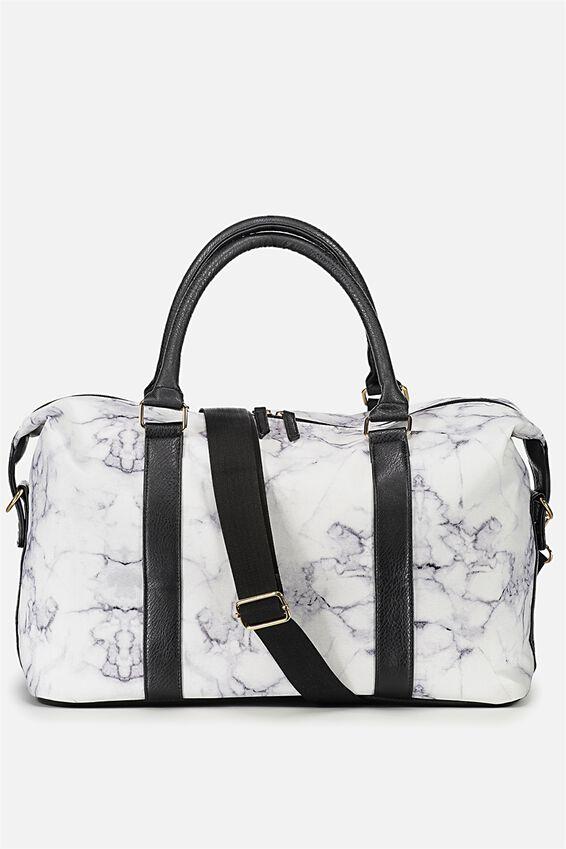 Weekend Away Duffel Bag, BLACK & WHITE MARBLE