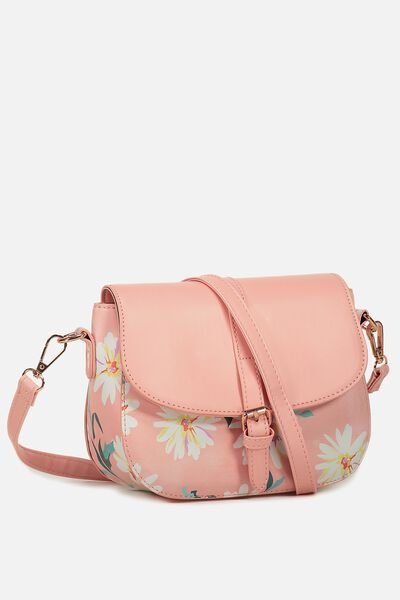 Mini Saddle Bag, PINK DAISY