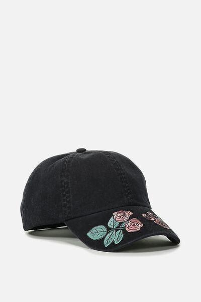 Novelty Caps, BLACK EMBROIDERED