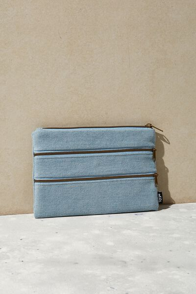 Double Archer Pencil Case, CHAMBRAY