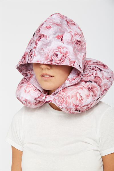 Hooded Neck Pillow, PINK FLORAL