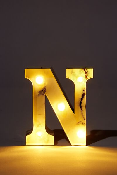 Mini Marquee Letter Lights 10cm, MARBLE N