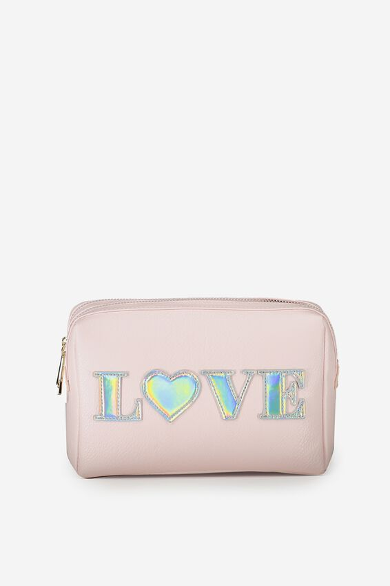 Dual Zipper Cosmetic Case, BLUSH LOVE
