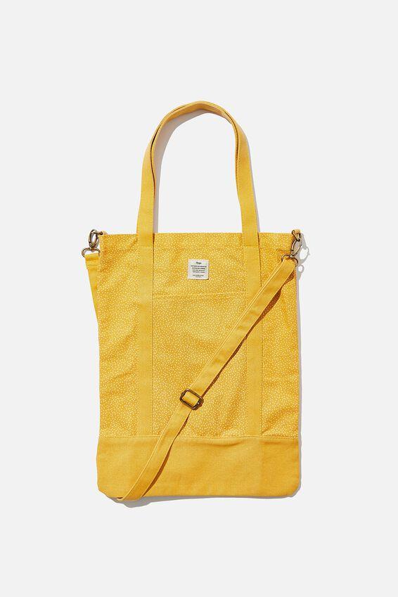 Book Tote Bag, MUSTARD MICRO SPOT