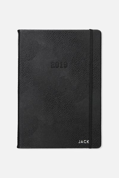 Personalised 2019 A4 Daily Buffalo Diary, BLACK