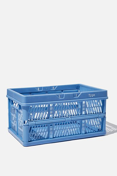Midi Foldable Storage Crate, CORNFLOWER