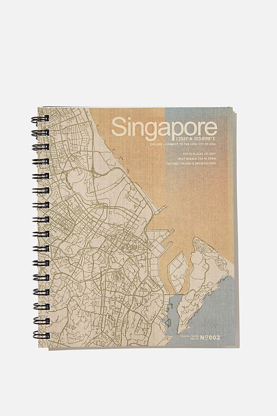 A5 Campus Notebook Recycled, RG ASIA TRAVEL ILLUSTRATION