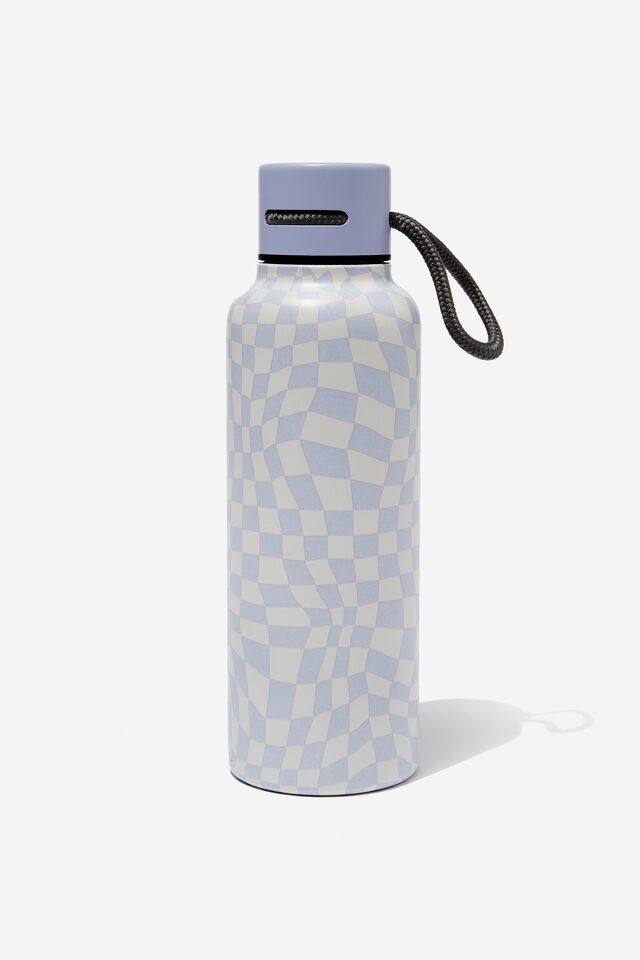 Boxed Metal Drink Bottle, WARPED CHECKERBOARD LILAC