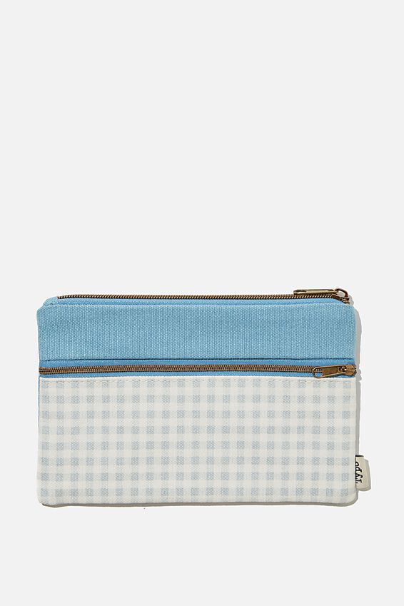 Archer Pencil Case, GINGHAM HYACINTH