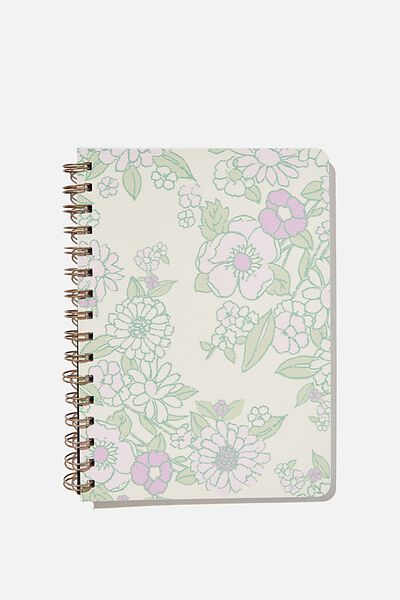 A5 Dot Daily Scribe Notebook, MINT PINK MOLLY FLORAL