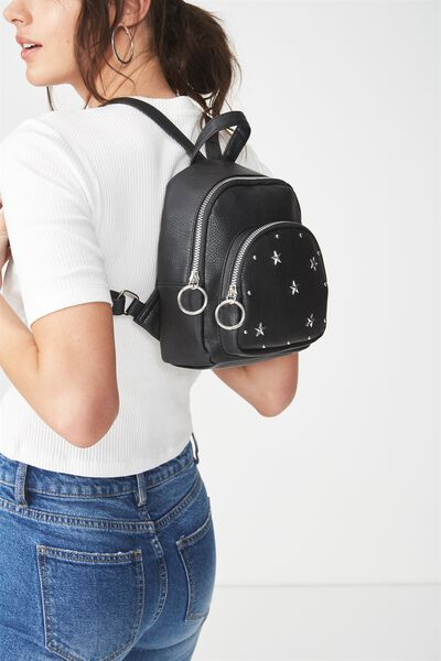 Mini Madrid Backpack, BLACK STUDDED